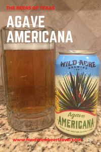 This is a Pinterest image. A mug of golden beer topped by a thin white foam head sits next to a can of Agave Americana beer.