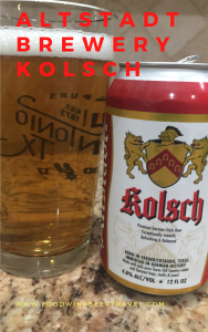 A pinterest pin imange of A can of Kolsch beer from Altstadt Brewery is next to a pint glass filled with a clear golden beer with small white head floating on top.