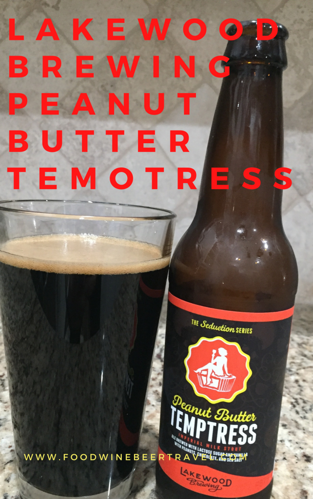 A Pinterest Pin of a bottle of Peanutbutter Tempterest, from Lakewood Brewing, is next to a pint glass filled with a Dark beer with almost no head floating on top.