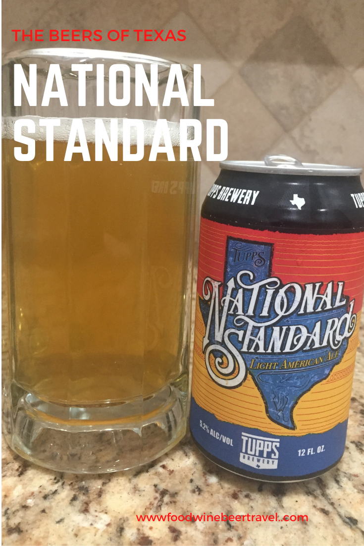 A Pinterest Pin of a can of National Standard from Tupps Brewery is next to a pint glass filled with a clear golden beer with a thick head floating on top.