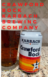 A Pinterest Pin of a can of Crawford Bock from  Karbach Brewing Company is next to a pint glass filled with a dark golden beer with a thick head floating on top.