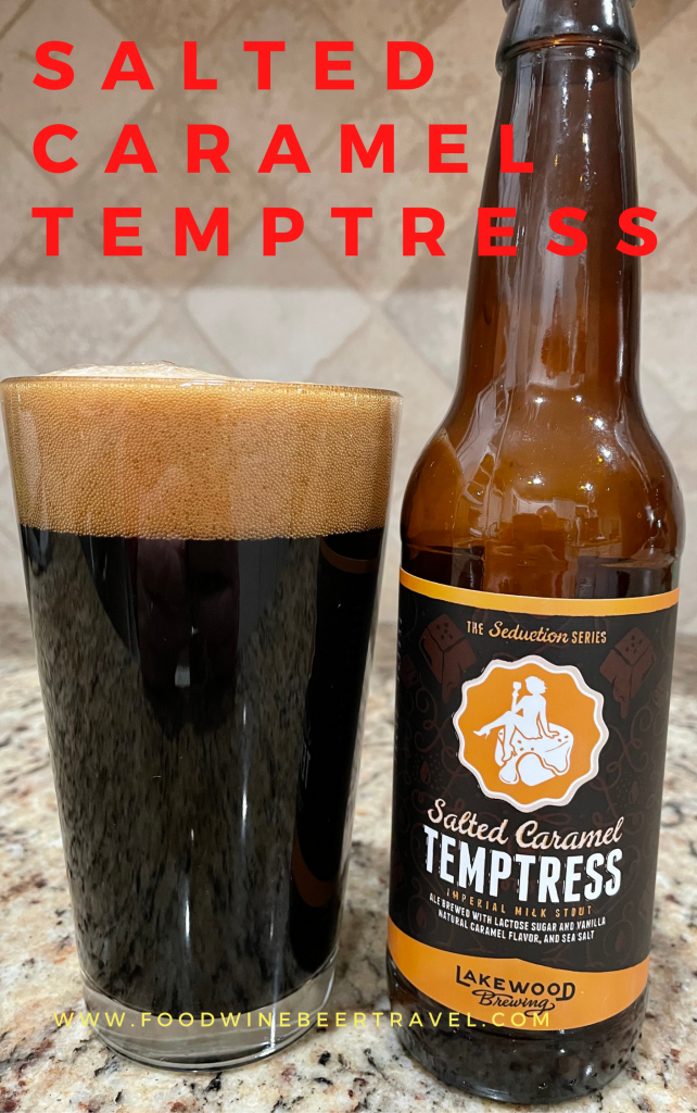 A Pinterest Pin of a  bottle of Salted Caramel Tempteres, from Lakewood Brewing, is next to a pint glass filled with a Dark beer with a dark almond head floating on top.