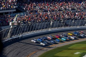 Stock Cars approach the starting line for the 2020 Daytona 500
